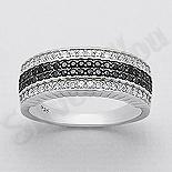Inel argint cu zirconii albe si negre - AR140
