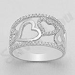 Inel argint cu inimi si zirconii albe - AR112