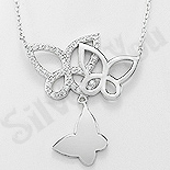 Colier argint cu medalion fluturi  si zirconii albe - AR132