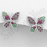 Cercei argint fluture cu emerald si rubin - AR309
