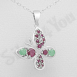 Pandantiv argint fluturas cu emerald si rubin - AR310
