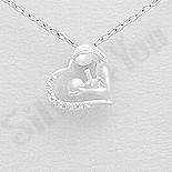 Pandantiv argint mama si copilul intr-o inima - AR158