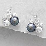 Cercei argint cu perla neagra si zirconii albe - AR100