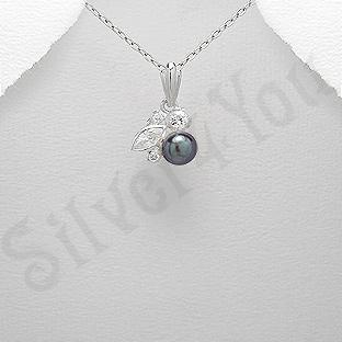 Pandantiv argint cu perla neagra si zirconii albe - AR101