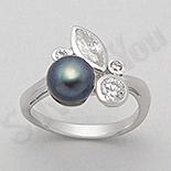 Inel argint cu perla neagra si zirconii albe - AR102