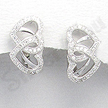 Cercei argint inimi cu zirconii albe - AR162