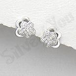 Cercei argint floricica cu zirconii albe - AR164