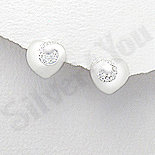 Cercei argint inima cu zirconii albe - AR166