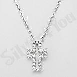Colier argint cruce cu zirconii albe - AR151