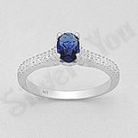 Inel argint  cu zirconii albe si albastre - AR141