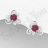 Cercei argint floare cu zirconii albe si roz - AR172