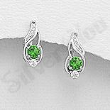 Cercei argint cu zirconiu verde deschis - AR107