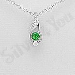 Pandantiv argint cu zirconiu verde deschis - AR109