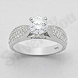 Inel argint logodna cu zirconii albe - AR114