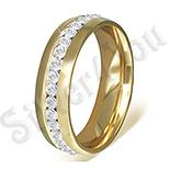Inel inox aurit cu zirconii albe - PK6003