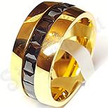Inel inox aurit cu zirconii negre multifatetate - LR328