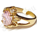 Inel inox aurit cu zircon roz - LR329