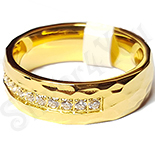 Inel inox aurit cu zirconii albe - LR341