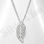 Colier argint frunza zirconii albe - AS140