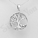 Pandantiv argint patinat copacul vietii si inimioare - AS141