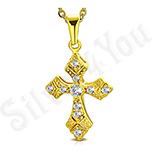 Cruce inox aurit cu zirconii albe - LR113