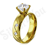 Inel de logodna din inox aurit - LR102