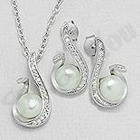 Set argint cu zirconii albe si perla - AS101