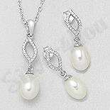 Set argint cu zirconii albe si perla - AS102
