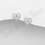 Cercei argint inima cu zirconii albe - AS111