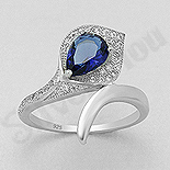 Inel argint logodna cu zircon albastru - AS114