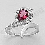 Inel argint logodna cu zircon rosu - AS113