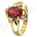Inel inox aurit cu zircon rosu - LR220