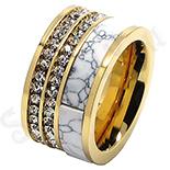 Inel inox aurit cu zirconii albe si ceramica - LR222
