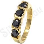 Inel inox aurit cu zirconii negre - LR237
