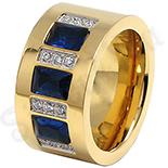 Inel inox aurit cu zirconii albe si albastre - LR251