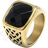 Ghiul inox aurit cu piatra neagra - LR244