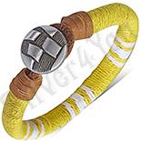 Bratara piele si siret galben cu alb - PK6077