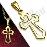 Cruce inox aurit medieval perforata - PK6023