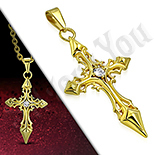 Cruce inox aurit floare de crin - PK6031